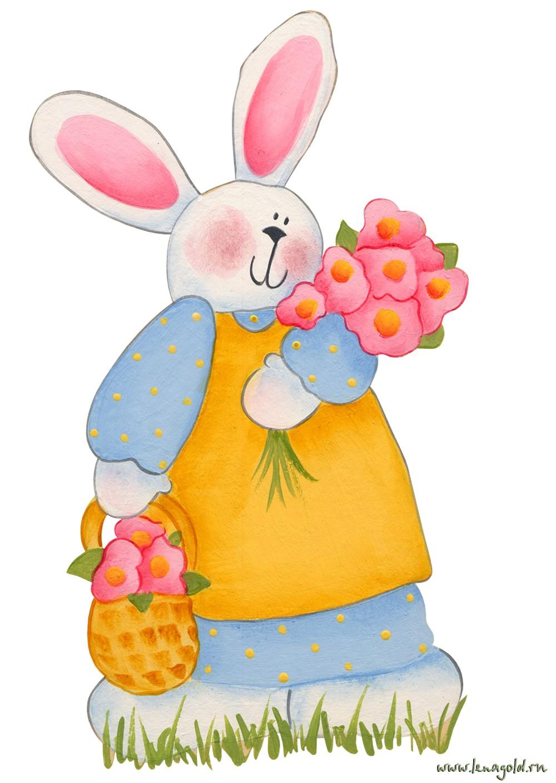 Заяц с цветами картинки 3