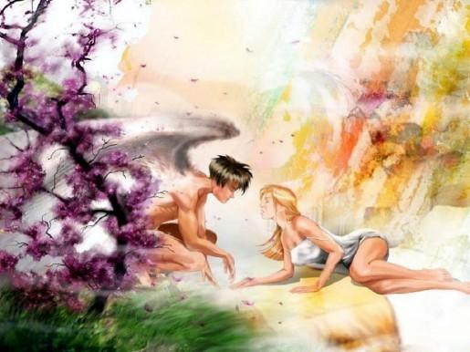 Парень ангел и девушка