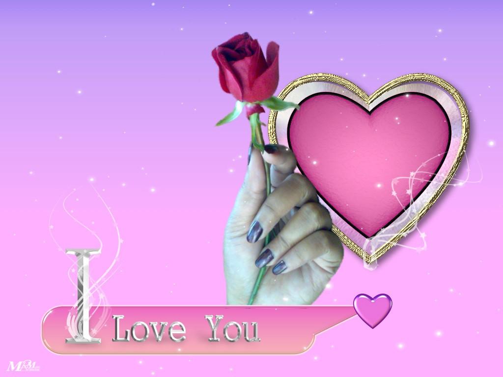 На фоне сердца в золотой оправе i love you