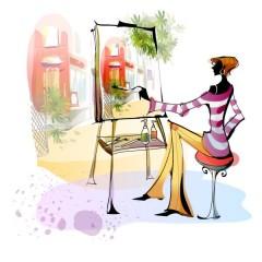 Девушка рисует городской пейзаж