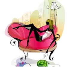 На розовом диванчике